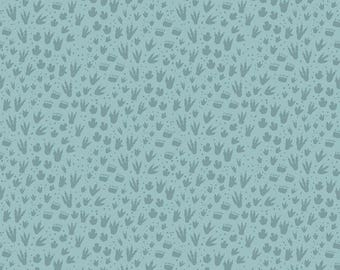 1 Yard Fossil Rim by Deena Rutter  for Riley Blake Designs-6615 Footprint Blue