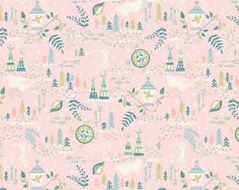 1 Yard Neverland by JIll Howarth for Riley Blake Designs- 6573 Pink Neverland Lantern