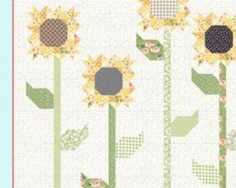 """Scrappy Sunflowers Quilt Kit with  Pattern by Vanessa Goertzen of Lella Boutique for Moda- Finished Quilt Size 66"""" x 66"""""""