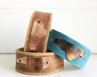North Carolina home leather cuff, hand stamped, rustic, copper, geniune leather, boho