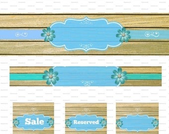 On Sale- DIY Etsy Banner Shop Store Rustic Blue Avatar Cover Set Of 5 Blank Shop Icon Graphic Instant Digital Download