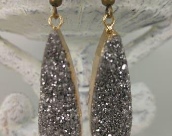 Silver druzy drop earrings. Nem jewelry.