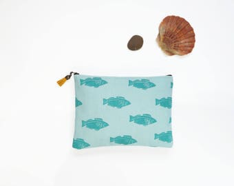 Hand printed cotton canvas clutch: Fishes