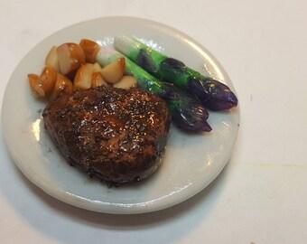 1:6 scale Steak dinner plate barbie blythe Bjd phicen playscale diorama