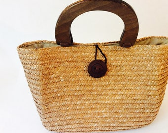 Straw Purse, Brown Wheat Straw Woven Handbag with Wooden Handle Boho Summer Purses, Wicker Basket Medium Size Handbags, Vintage Vacation Bag