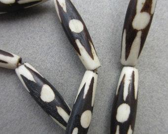 Batik Bone Pipe Beads (7x28-31mm) [68102]