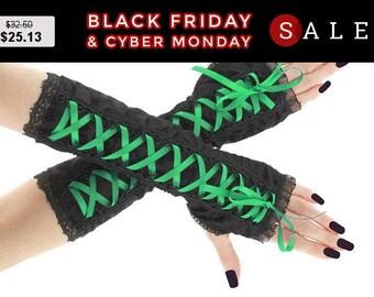 Black green long fingerless gloves, arm warmers gothic, burlesque, steampunk glove, goth bridal gloves, womens costume vampire gloves 0255D