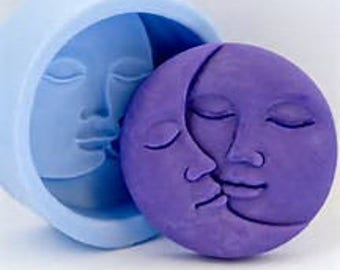 FREE SHIPPING Moon face Sun face Celestial silicone mold for soap, candle, polymer clay, cake, chocolate, fondant and pudding