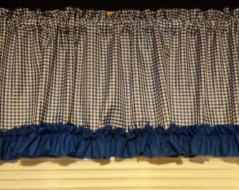 Blue And White Gingham With Ruffle And Ribbon Trim Kitchen Valance