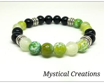 8mm Green Fire Agate and Black Agate Spiritual Money Protection Bracelet. Protect From Those Envious of your financial endeavors.