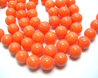 10mm Orange Jade Gemstones 10mm Opaque Round Bright Orange Gemstones 15 inch strand Jade 38 Beads Gemstone Jewelry 1mm Hole Orange Beads