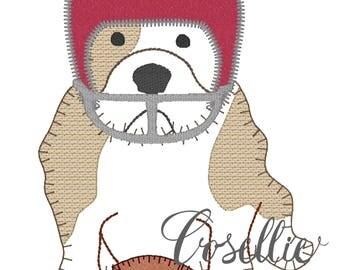 Bulldog football embroidery design, Bulldog embroidery design, Vintage stitch bulldog, Football embroidery design