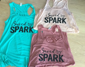 NEW!  Saved by SPARK cotton Racerback Tanks Ladies sizes
