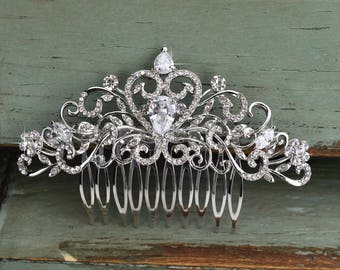 Silver Wedding Hair Comb, Rhinestone Bridal Comb, Crystal Wedding Hair Comb, Headpiece, Cute Bridal Side Comb, CO-035