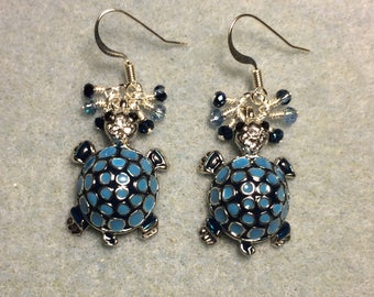 Dark and light blue enamel mosaic turtle charm earrings adorned with tiny dangling dark and light blue Chinese crystal beads.