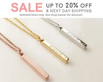 personalized necklace Vertical Bar Necklace, Rose Gold Necklace Pendant necklace grandma necklace - R4N