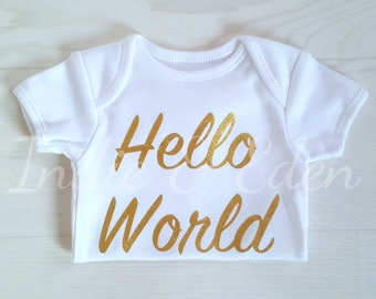 Gold Hello World Baby Newborn Vest Baby Grow Babygrow Personalised Photo Prop