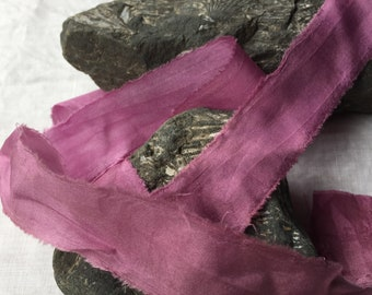 FUCHSIA recycled silk chiffon ribbon//hand dyed//styling//wedding ribbon//bridal ribbon//stationery//gift ribbon//pink//purple//magenta