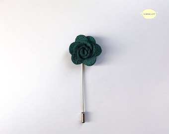 Green Floral Pin, Men Suit Lapel, Ribbon Pin, Flower Lapel, Floral Pin, Wedding Floral Ribbon