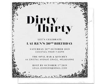 Dirty Thirty Invitation, Dirty 30 Invitation, Birthday Party, Thirtieth Birthday Party, 30th Invitation, 30th Party, Black Glitter