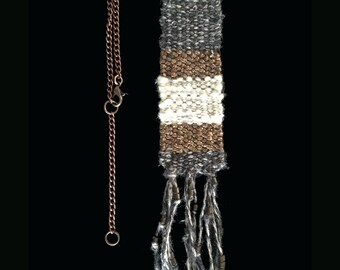 Handwoven cotton and linen necklace with copper chain and beads
