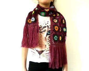 Burgundy wool fringed scarf bronze crochet granny