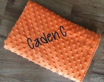 """Personalized Orange Minky Dot Blanket, 30"""" x 44"""""""
