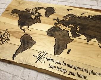Wood Map Wall Art wood world map | etsy