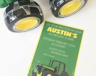 "PDF & JPEG OPTION | Tractor | John Deere | Green and Yellow | Birthday Party | Invitation | 5""x7"" | Customizable"