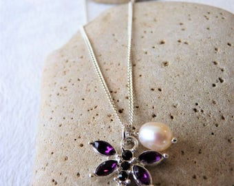 Purple Dragonfly and Freshwater Pearl Necklace