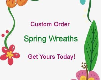 Spring wreath for door, Easter door wreath, Spring door hanger, Easter door hanger, custom Spring wreath
