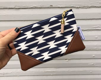 Navy Blue and White Aztec Mini Tassel Zipper Clutch