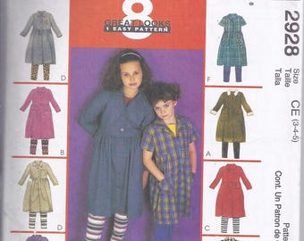 McCall's 2928 Sewing Pattern from 2000.  Girl's Shirt-Dress and Leggings.   Breast 22-24