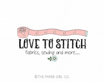 sewing logo design seamstress logo measuring tape logo fabric shop logo clothing designer logo premade logo design appliqué shop logo