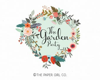 flower wreath logo flower logo florist logo photography logo premade logo design wedding planner logo event planner logo monogram logo