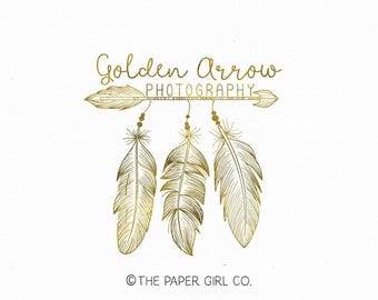 feather logo boho logo boho chic logo boho style logo photography logo arrow logo event planner logo photographers logo home decor logo
