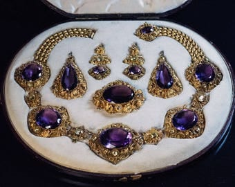 Antique Georgian Amethyst Chrysoberyl Gold Parure