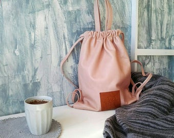 Backpack modern, pink summer backpack, Womand backpack, soft leather bag, summer backpack, casual backpack - ready to ship
