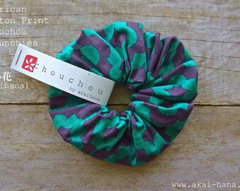 Designers Fabric Chouchou/Scrunchies, Green Blue Geometry, 100% Cotton
