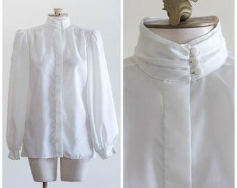 1980s off white blouse