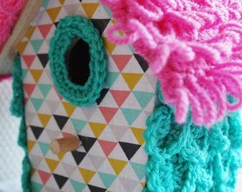 cabin Tweety fabric geometric patterns and crochet