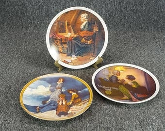 Vintage Lot Of 3 Norman Rockwell Collector Plates 8 1/2""