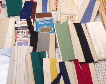 Vintage seam binding and rick rack  lot - 47 pieces - new old stock - vintage sewing notions