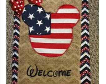 Support USA July 4th Mickey Mouse Red White Blue God Bless American Welcome Embroidered Burlap Garden Flag Door Hanger