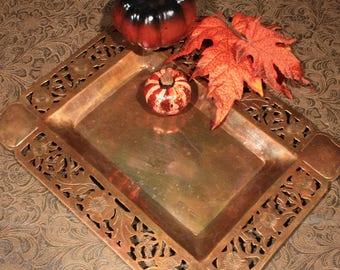 Pierced Copper Dresser Tray, Mans Butler Tray