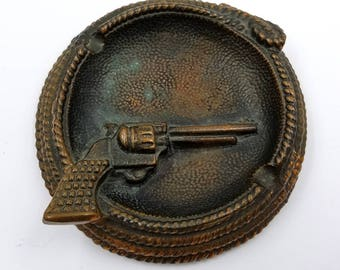 Copper Plated Western Ashtray / Coiled Rope / Pistol