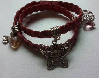 Antique pink, braided leather wrap bracelet.