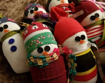 Adorable, hand crafted, sock snowman