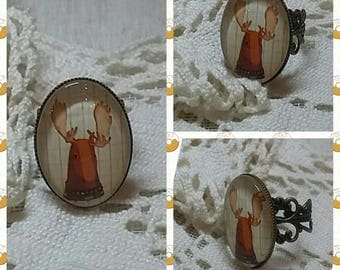 "Oval Ring ""soft Elk"". Cabochon glass 25 x 18 mm"