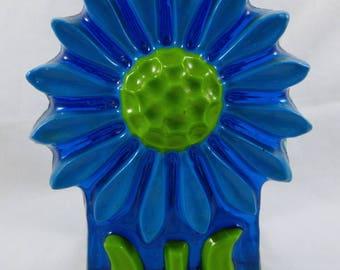 Lucite Acrylic Napkin Holder Turquoise Blue Daisy Sunflower Mid Century Modern